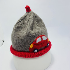 Grey, and red car newborn beanie, baby boy, baby girl beanie, hand knit baby hat