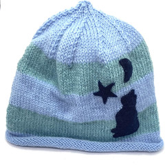 Sky blue baby beanie with blue cat and stars, baby boy, baby girl beanie, hand k