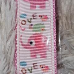 Wristlet Key Fob - Pink Love Elephants