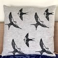 Linen cushion Cover / Swallow linocut print / block print / Australian Bird