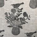 Linen cushion Cover / floral linocut print / Eastern Spinebill
