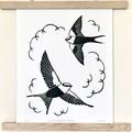 White-backed Swallow Original Lino Cut Print / Australian Bird Print / Nostalgia