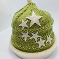 Sage green with stars, beanie with flowers, baby boy, baby girl beanie, hand kni