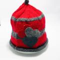 Baby red and grey beanie, baby beanie, hand knit baby hat, Baby merino wool hat,