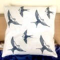 Linen cushion cover / Navy Blue and white / Swallow linocut print / block print