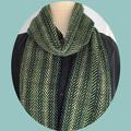 Merino Wool Scarf, Handspun, Handwoven, Herringbone Pattern,  Green / Black