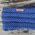 Knitted blue infinity scarf, denim blue cowl, ladies blue knitted snood scarf, l