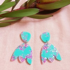 Tulip Statement Dangle earrings - Mint candy collection