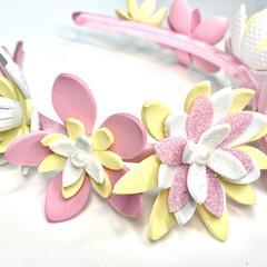 Flower Crown Headband Pink, White & yellow