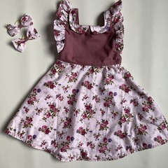 Maroon Floral Country Style Dress - Girls  Size 2