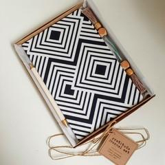 Gratitude Journal Gift Set, Personalised Gift, Navy Geometric