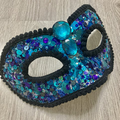 Sequinned Masquerade Mask teal and purple