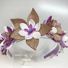 Flower Crown Headband - Mauve, Antique gold & White