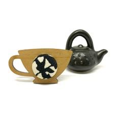 Kimono Tea Cup Brooch - Black and White