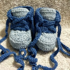 Blue cotton baby booties, lace up shoes