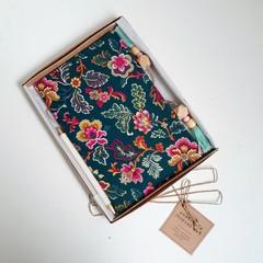 Gratitude Journal Gift Set, Personalised Gift, Dark Teal Floral