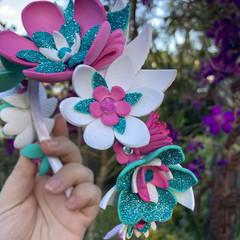 Flower Crown Headband Pink, White & Teal
