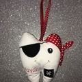 Tooth Fairy Plush, Pirate. Custom embroidered