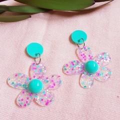 Flower Statement Dangle Earrings -  Mint green - pink