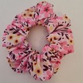 Pink and white flower print scrunchie / hair accessory