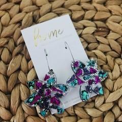Recycled Silver Green Purple Aqua Glitter Flower Hoop Earrings | Ecofriendly