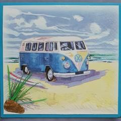 Cool Combi Van with ocean - Blank Birthday