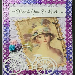 """""""Pretty Vintage Girl with Bicycle"""" - Blank Birthday Thanks"""