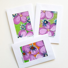 Set of Three, Hand Painted, Acrylic and Ink on paper, Paintings as Art Cards