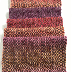 Handwoven  Scarf, Wool / Acrylic Blend, Bronze/Pink Gradient