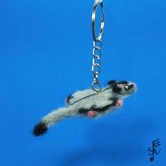 Sugar Glider Keyring - Handmade Wool Felt Animal
