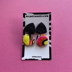 Yellow Pink Black Dangle  - Polymer Clay Earrings