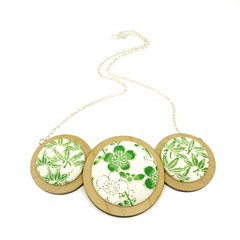 Three Disc Necklace - Apple Green Florals