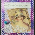 """""""Pretty Vintage Girl with Bicycle"""" - Blank, Birthday, Thanks, Personalised"""