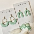 Pistachio & white speckled earrings