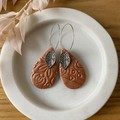 Tear Drop-Shaped Bronze Stamped Handmade Hoops with Leaf Charm