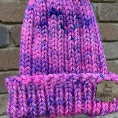 Knitted child beanie pink beanie fit 3-10 year old boy or girl, fluro pink beani