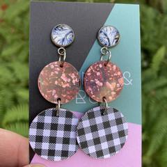 Rose gold & gingham earrings