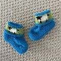 Turquoise sheep  booties - Hand knitted in Pure Wool