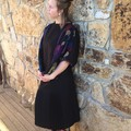 Up cycled fabric & linen top, ladie's jumper/top, one-size-fits-all, black linen
