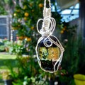 Dichroic glass pendant, large sterling silver weave wire wrapped pendant
