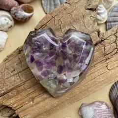 Amethyst, Aventurine, Selenite and Copper Energy Heart