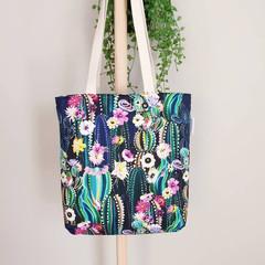Cactus Zippered Tote Bag