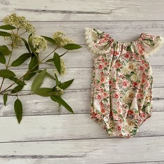 Seaside floral Romper, Size 000 or 00 Baby Romper, Baby Girls Playsuit