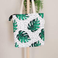 Zippered Monstera Tote Bag, Shoulder Bag