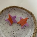Orange and Pink Gradient Star Handmade Polymer Clay Studs