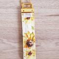 Key Fob, Wristlet Keychain - Sunflowers