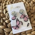 Recycled Pink Silver Butterfly Earrings  | Ecofriendly | Eco