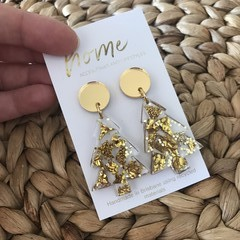Recycled Gold Glitter Christmas Tree Dangle Earrings| Eco