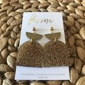 Recycled Gold Glitter Brass Gold Ball Stud Dangles   Ecofriendly