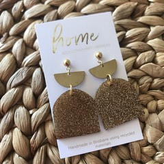 Recycled Gold Glitter Brass Gold Ball Stud Dangles